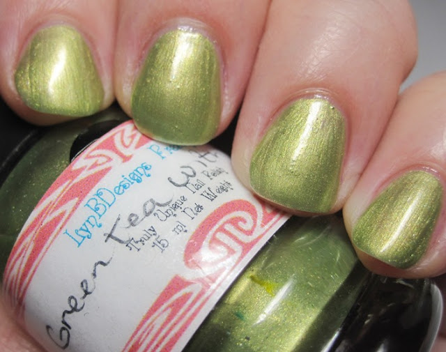 LynBDesigns Green Tea With Lemon, a metallic green polish with a yellow shimmer.