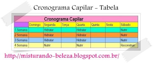 Tabela Cronograma Capilar