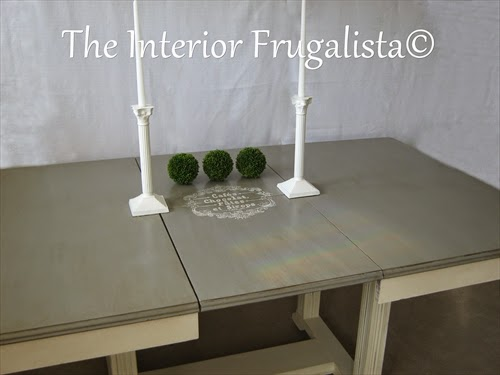 Vintage Dining Table with hand painted graphic on the extension leaf