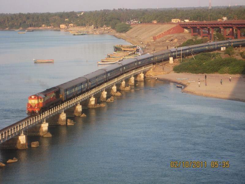 Boat Mail Express on Pamban Bridge.