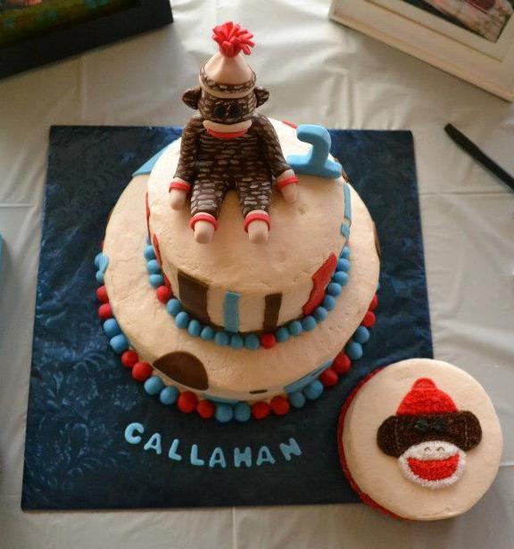 Just Add Cake First Birthday Cake Sock Monkey theme