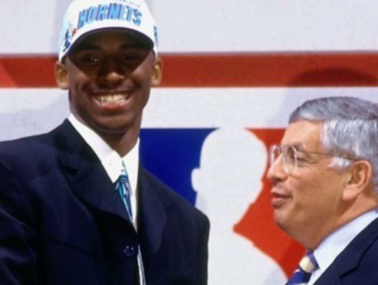 Kobe Bryant being drafted by Hornets (with Commissioner David Stern)