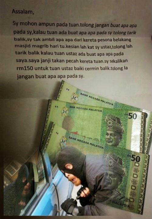 Gambar Pencuri Hantar Surat Merayu Minta Maaf Selepas Pecahkan Kereta Imam Masjid