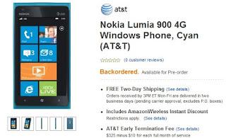 Nokia Lumia 900 4G Pre-Order Page