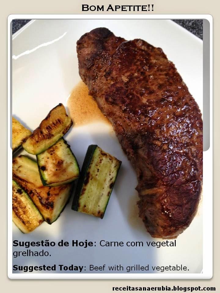Carne com vegetal grelhado.