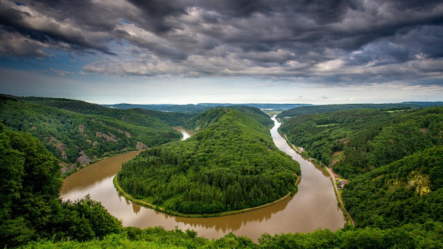 Germany Saarland River Bend Water After Rain Trees Hills HD Wallpaper