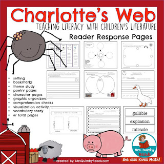 Charlotte's Web Book Companion and Writing PromptsFor Grades 2-3