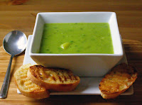 Minted Petite Pois and Potato Soup with 'Butter' Grilled Ciabatta Slices