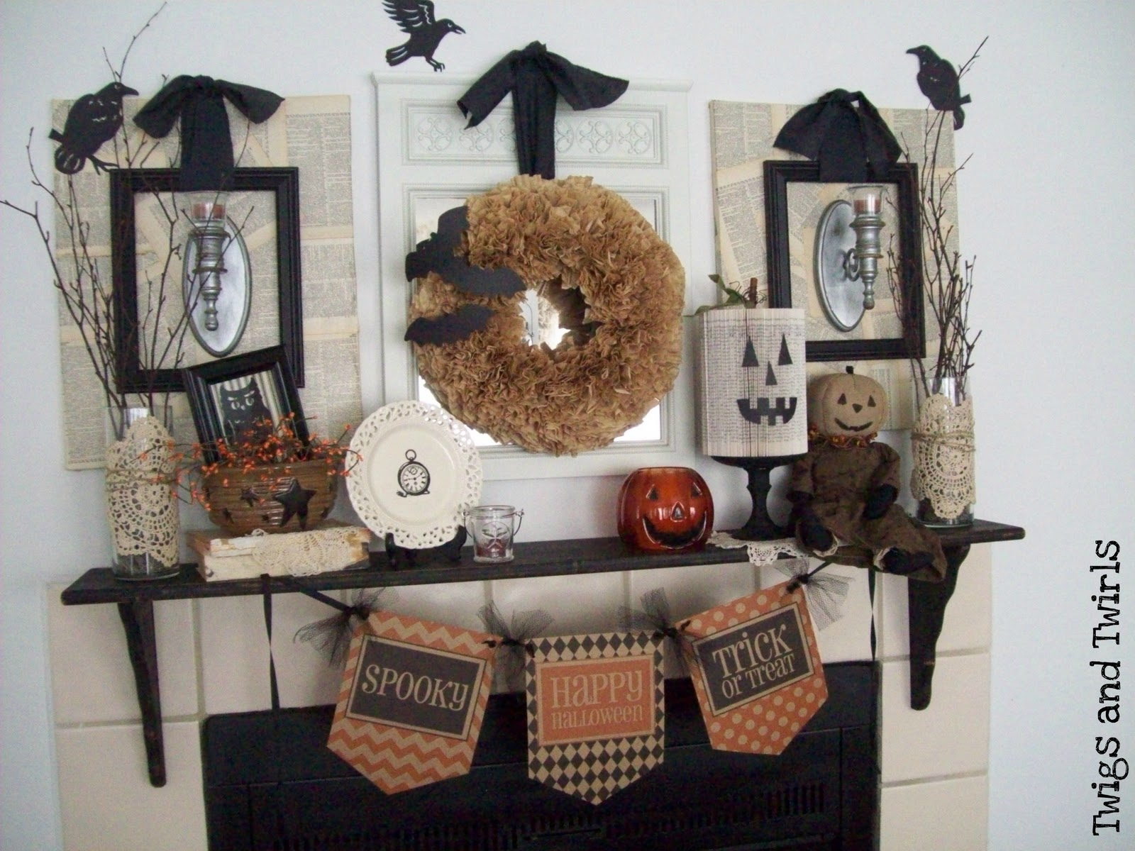 halloween mantel, halloween mantle