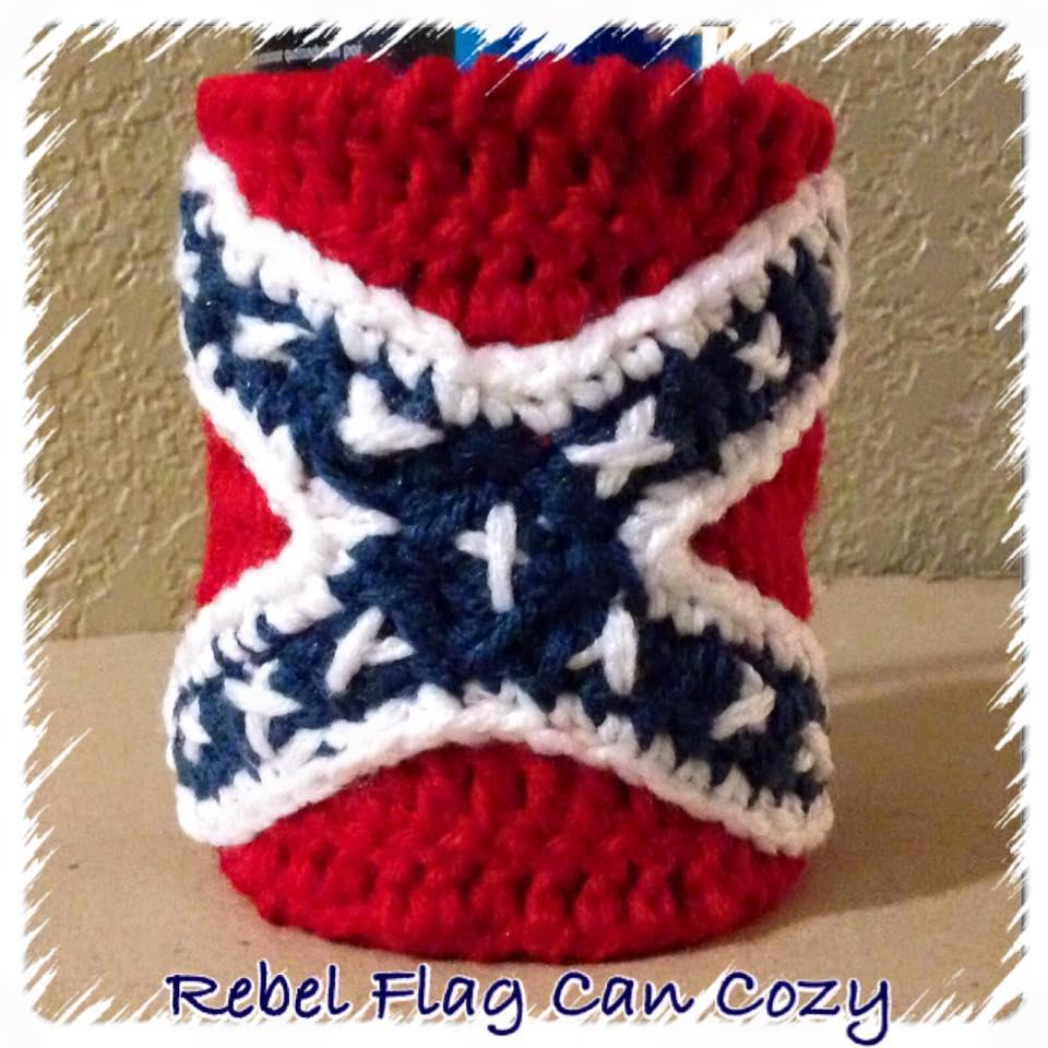 Taste Of Craftiness: Crochet Rebel Flag Can Cozy