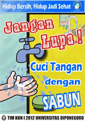 Poster Kesehatan Untuk Mencuci tangan dengan sabun