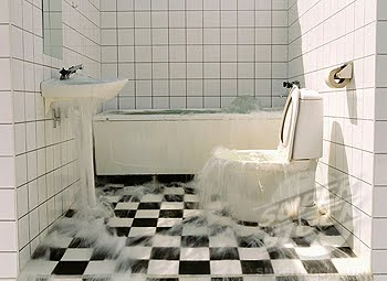 Oh g whiz water in it for Bathroom flooded wet carpet