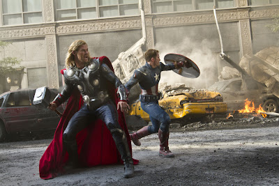 Chris Hemsworth and Chris Evans save the world in THE AVENGERS