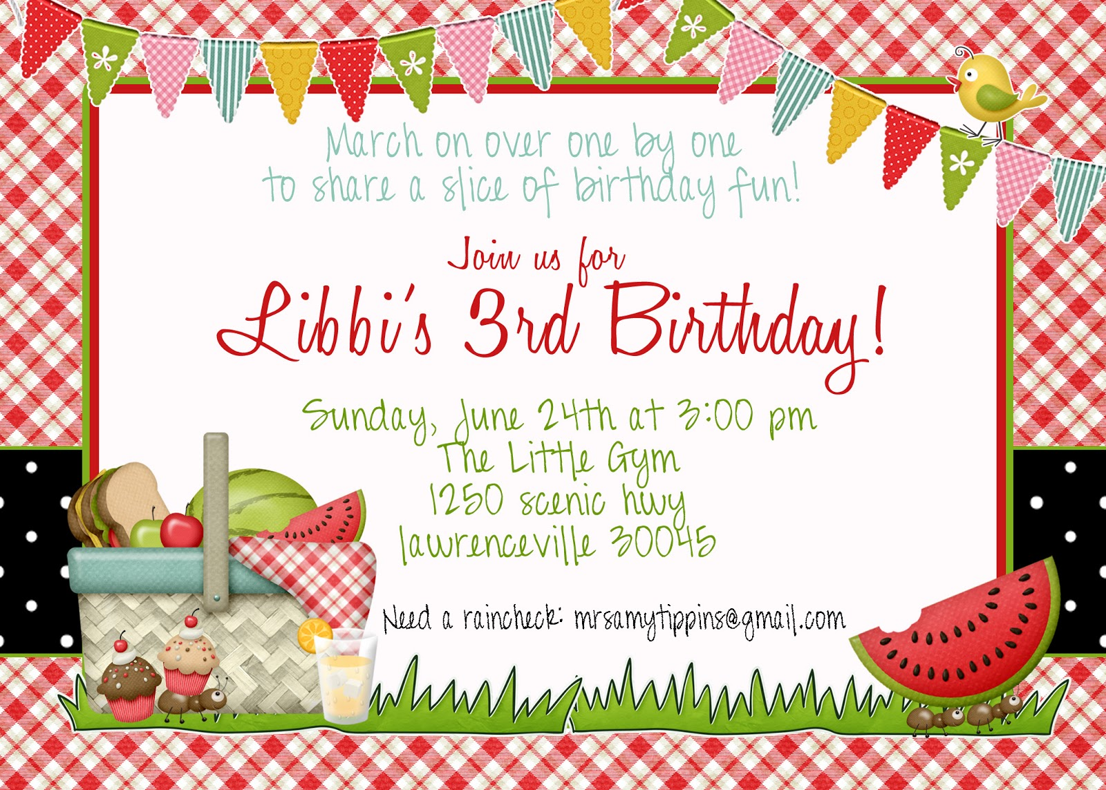 Picnic Invitation Template Birthday invitations