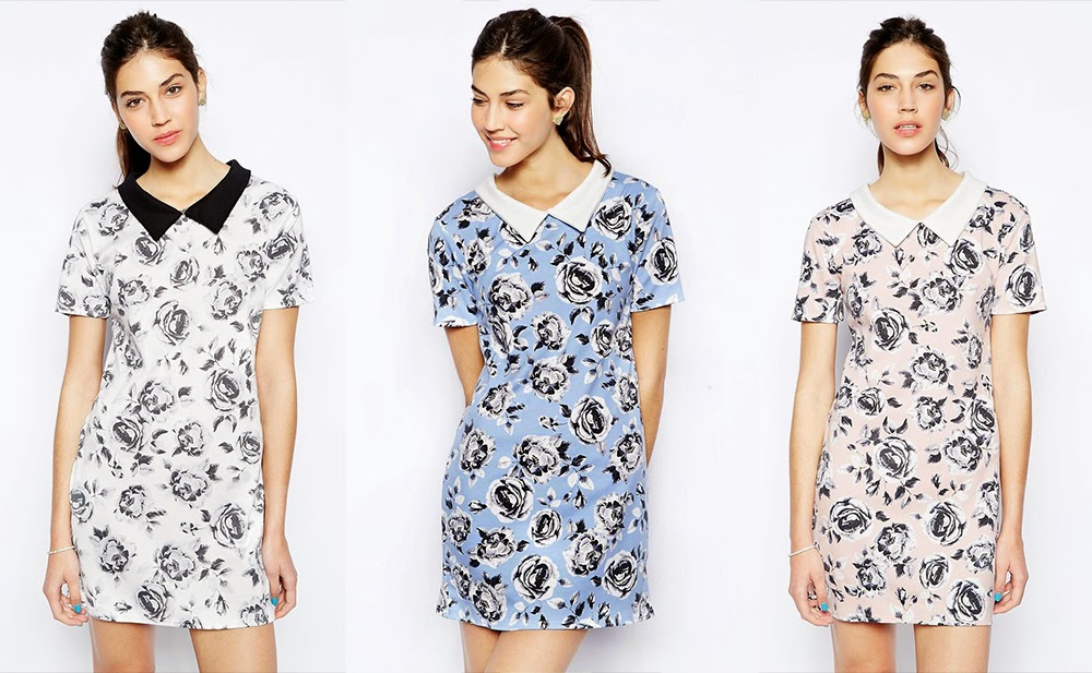 AX Paris Shift Dress with collar in rose print