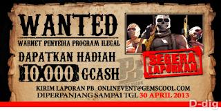 Point Blank (PB) Hadiahi 10.000 GCash Bagi Pelapor Cheater