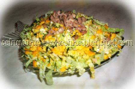 Салат из пекинской капусты и печени трески
