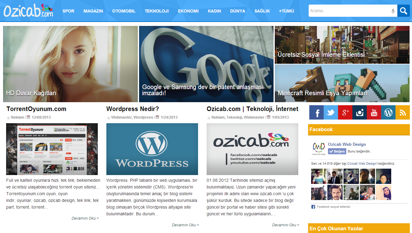Ozicab Design Blogger Poortal Teması