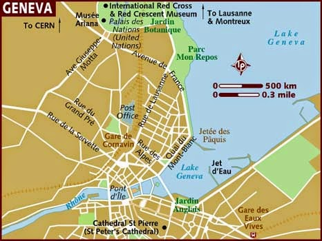 Simple tourist map of Geneva Switzerland