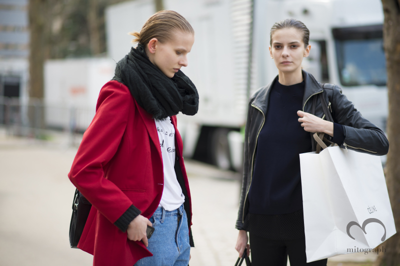 Model Ola Munik and Dasha Denishenko leaves Celine show during Paris Fashion Week 2014 Fall Winter PFW