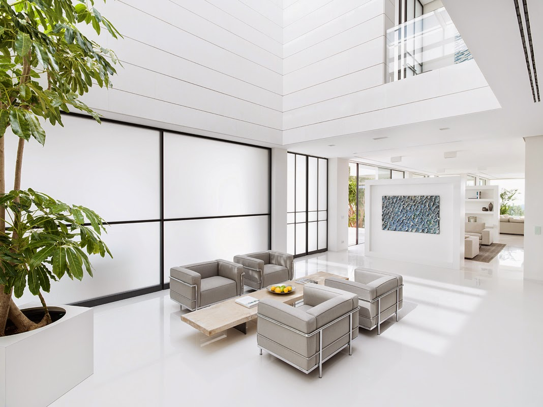 all white living room villa chameleon mallorca spain