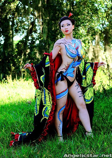 Yaya Han In Yakuza Bodypaint By Nick Wolfe Photography By
