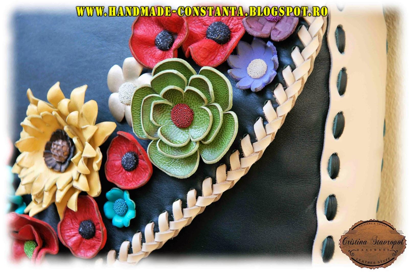 floare lucrata manual handmade din piele naturala