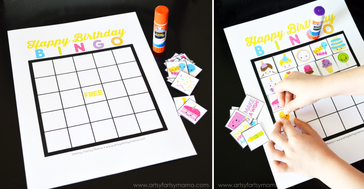 Free Printable Birthday Bingo at artsyfartsymama.com #birthday #freeprintable #printable #bingo
