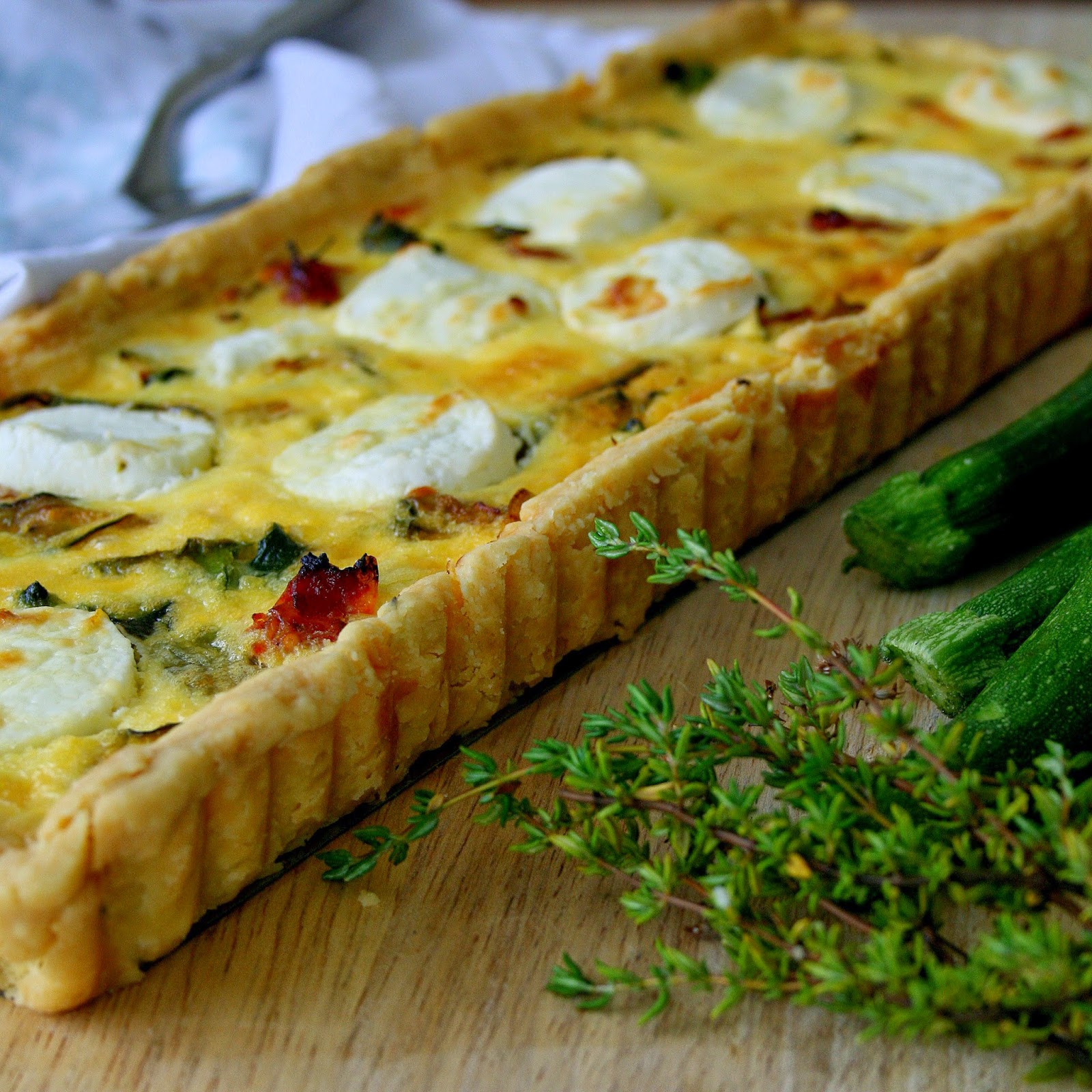 Cupcakes & Couscous: BABY MARROW, SUNDRIED TOMATO and CHEVIN TART