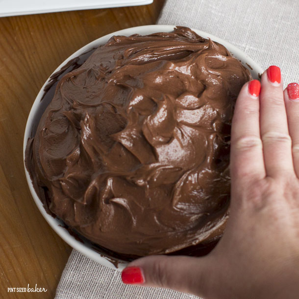This Chocolate Cake is the perfect size for a family of four to enjoy. It's not to big and not too small - it's just right!