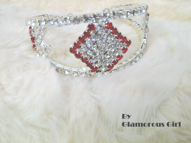 Silver And Red Crystals Bracelet