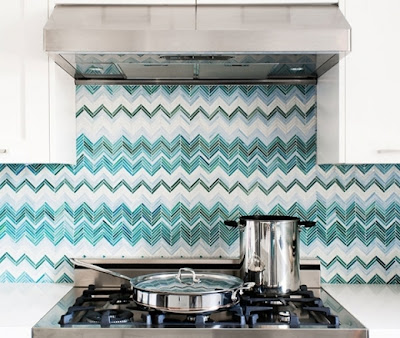 modern, turquoise, kitchen, design, mosaic, tile