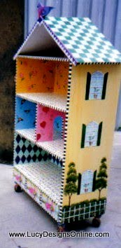 hand painted dollhouse bookshelf cabinet