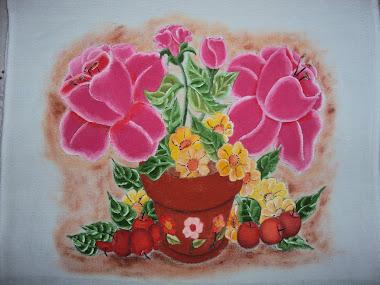 Pintura em tecido (vaso de flores)