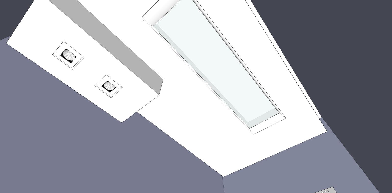 Rebaixo com dois spots em cima da pia e um vitral para iluminação  #5C5E6F 1600 788