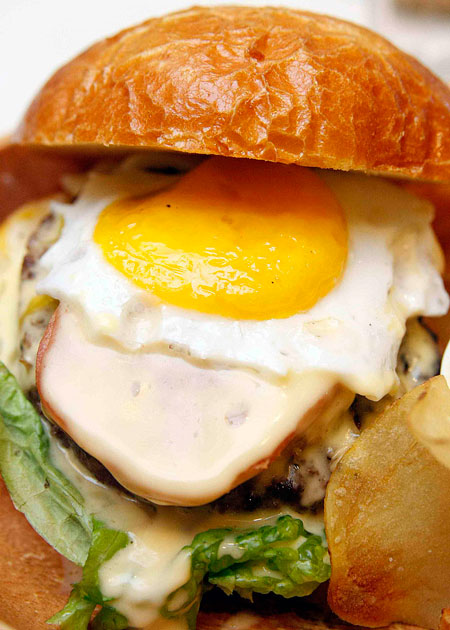 spam and egg cheeseburger