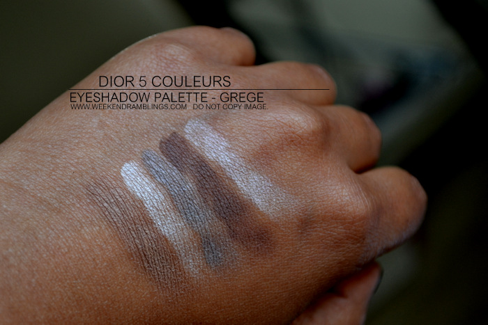 Dior 5 Couleur Eyeshadow Palette Grege 734 New Looks Set Sephora Indian Darker Skin Swatches Makeup Beauty Blog Reviews Swatches EOTD FOTD