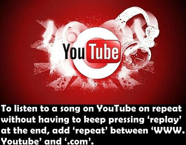 To listen to a song on YouTube on repeat without having to keep pressing 'replay' at the end, and 'repeat' between 'WWW.Youtube' and '.com'.
