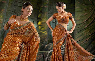 beautiful and sexy golden indian banarasi silk saree for women