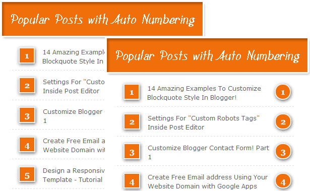 Popular Posts With Automatic Numbering