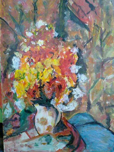 pintura de jarron con flores