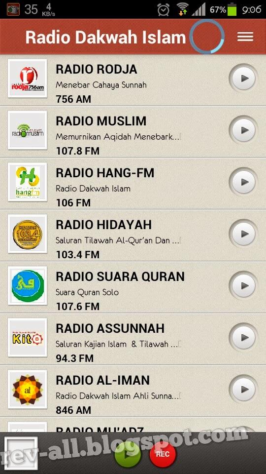 Tampilan utama - Radio Dakwah Islam - Aplikasi android untuk mendengarkan radio islam online (rev-all.blogspot.com)