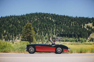 Groom heading to the ceremony in a classic sports car l Gatekeeper's Museum Tahoe l Sun + Life Photo l Johnny B Video l Take the Cake Event Planning