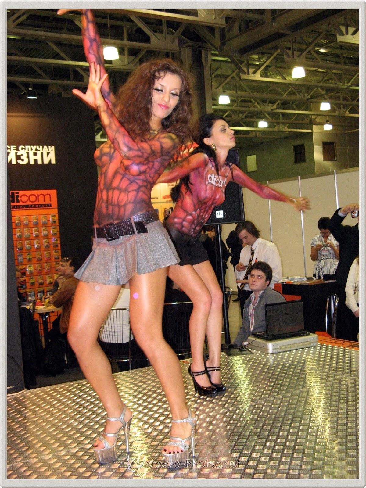 Dancing body painted girls on high heels. Photoforum - 2008.