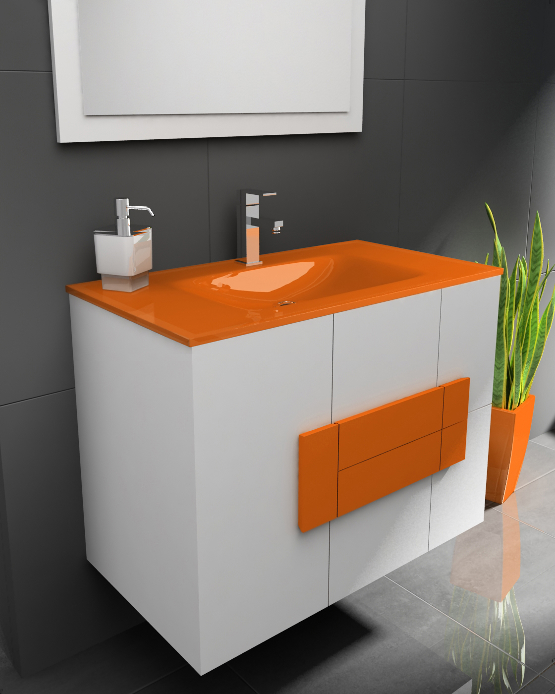 Mueble muebles de ba o naranja galer a de fotos de for Muebles de bano con lavabo baratos