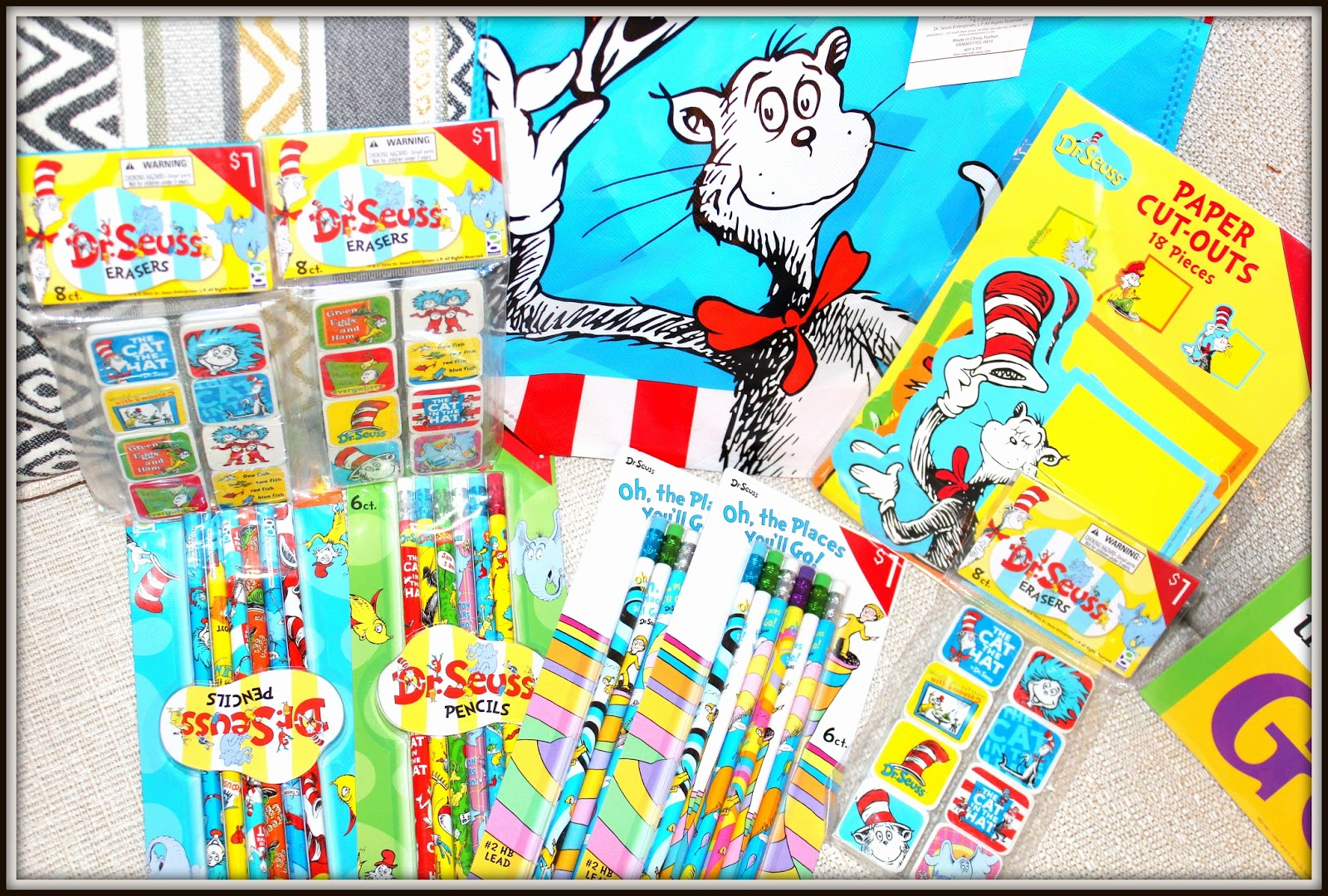 Inspirational Dr Seuss Decorating with Fun Bags Paper Cut Outs and some first day Pencils and Erasers Won ut the kids LOVE em