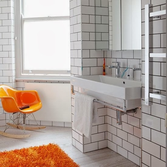 Classic White Subway Tiles In Bathroom With Dark Black Grout Lines And