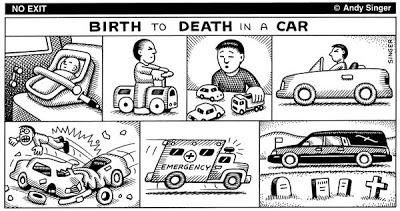 Andy Singer Urbanismo Acidentes de Trânsito Do Nascimento à Morte em um Carro