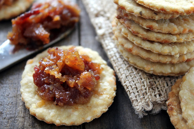 Bacon Jam and Grits Crackers recipe from cherryteacakes.com