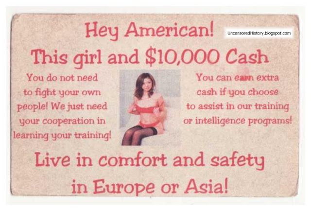 Vietcong pamphlet offer girls easy money